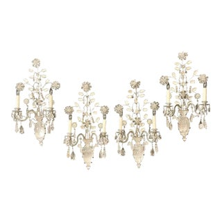 Maison Baguès Style Two Pair of Rock Crystal Wall Sconces For Sale