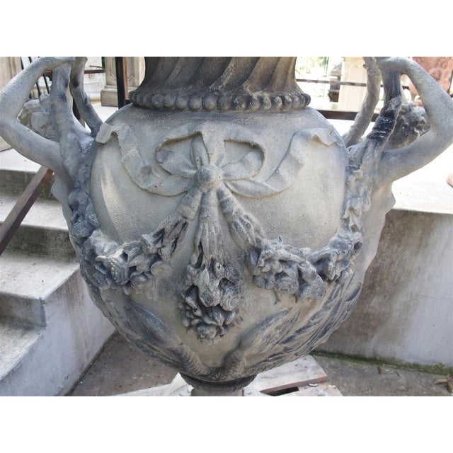 French Stunning Pair of Cast Grey Stone Urns from the Margam Park Originals For Sale - Image 3 of 10