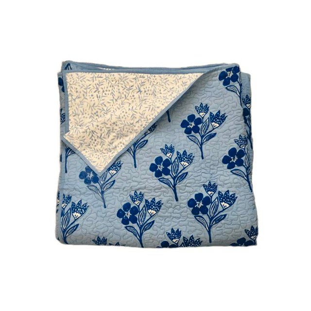 2020s Boho Chic Floral Blue Reversible Queen-Size Quilt For Sale - Image 5 of 5