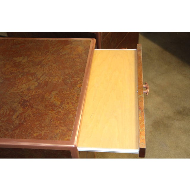 Patinated Copper Sheet Clad Nightstands or Chests - a Pair For Sale - Image 11 of 13