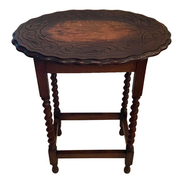 Early 20th Century Antique English Oak Side Table For Sale