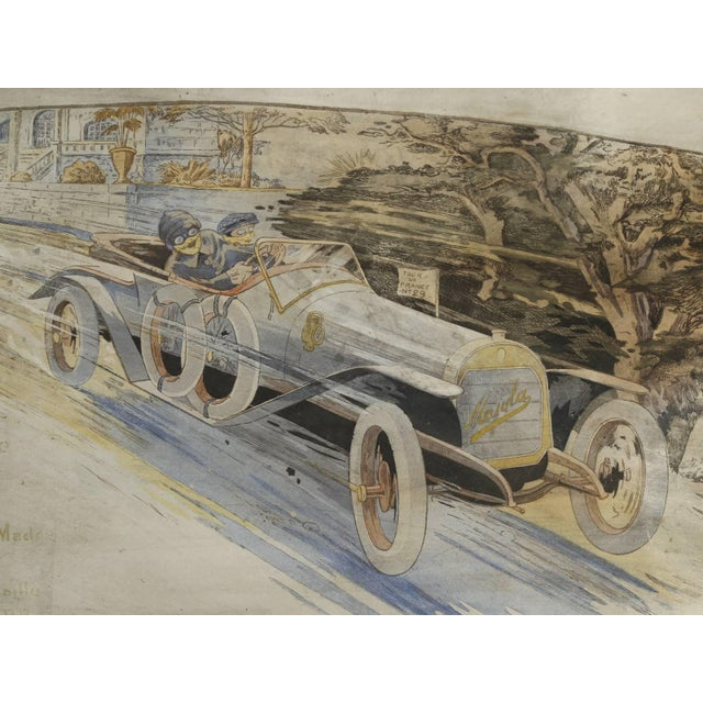 1910s Gamy French Automobile Lithograph, Hand-Colored Majola Auto Circa 1913 For Sale - Image 5 of 11
