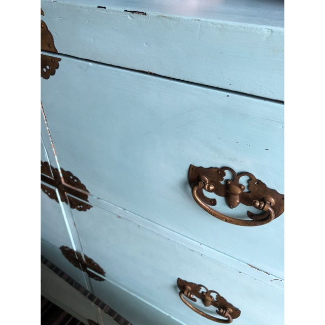 Late 19th Century Antique Korean Dresser Campaign in Tiffany Blue For Sale - Image 5 of 12