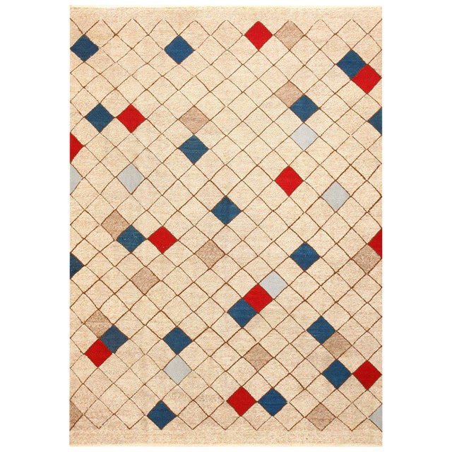 Mid-Century Swedish Kilim Rug - 7′ × 9′9″ For Sale