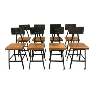 Industrial Stools Chairs by Pollard, Set of 8 For Sale