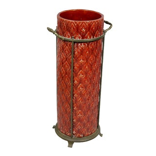 English Burmantofts Pottery and Brass Umbrella Stand For Sale