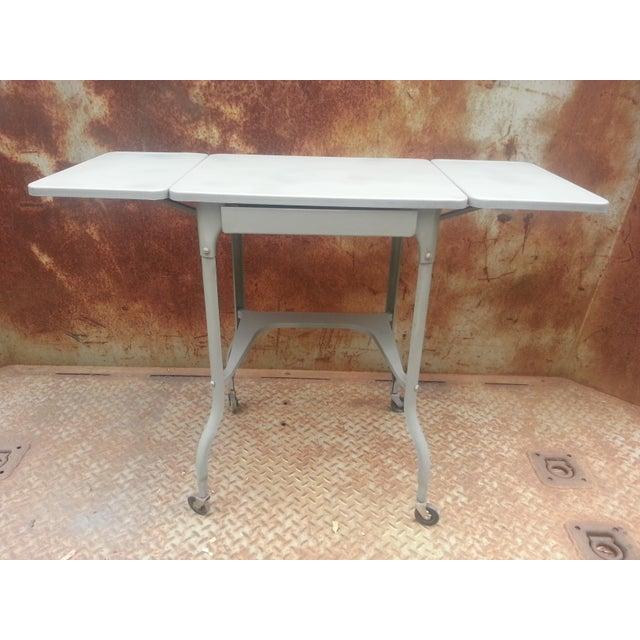Industrial Drop Leaf Desk & Stool- A Pair - Image 7 of 8