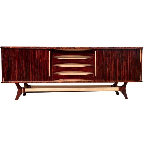 Mid-Century-Style Exotic Wood Credenza - Image 1 of 6