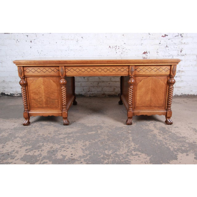 Antique Carved Burled Walnut Executive Lincoln Desk, Chicago, Circa 1930s For Sale - Image 10 of 13