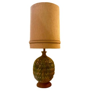 Large Mid-Century Modern Drip Glaze Ceramic Lamp With Original Lamp Shade For Sale