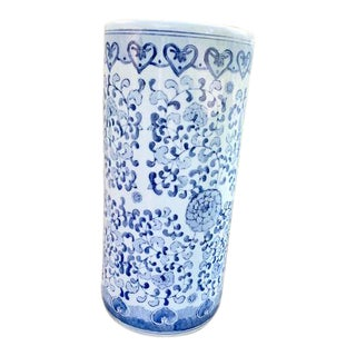 Vintage Blue and White Ceramic Umbrella Stand For Sale