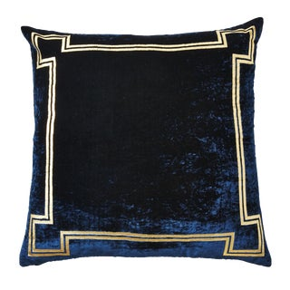 Aria Blue Silk Velvet Pillow With Gold Foil Accents For Sale