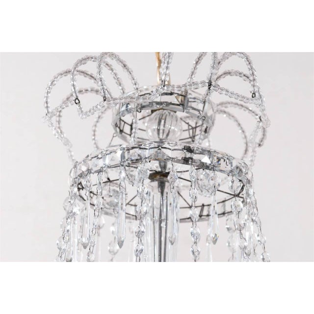 Italian Crystal Four-Light Chandelier With Crystal Center Column For Sale - Image 10 of 11