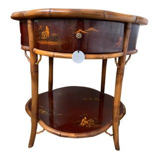 Chinese Round Side Table With Drawer For Sale