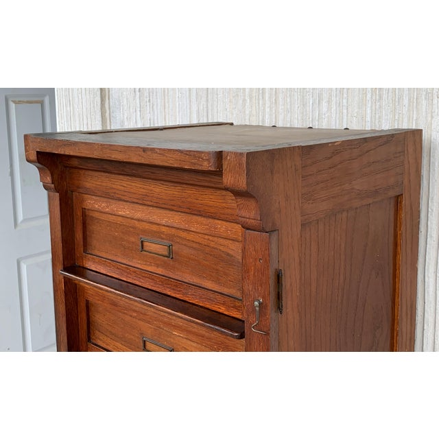 Wood Art Deco Filing Cabinet With Eight Sliding Drawers and Wheels For Sale - Image 7 of 9