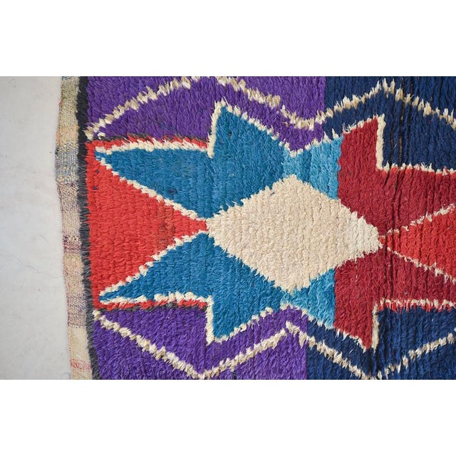1970s 1970s Vintage Boucherouite Moroccan Wool Rug - 3′1″ × 6′6″ For Sale - Image 5 of 6