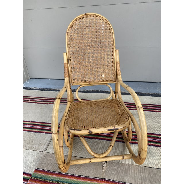 Vintage Mid Century Modern Tiki Bent Bamboo Wood Rocking Chair For Sale - Image 13 of 13