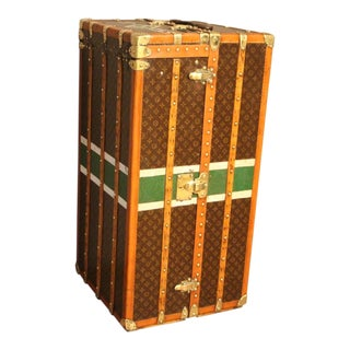 1930s Louis Vuitton Monogram Canvas and Brass Fittings Wardrobe Steamer Trunk For Sale