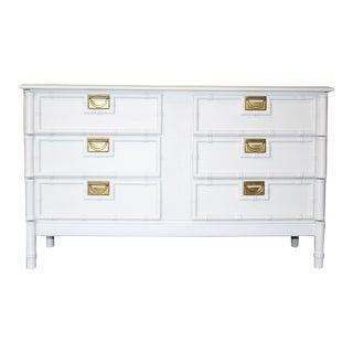 1970's Hollywood Regency-Style White Faux-Bamboo Dresser For Sale