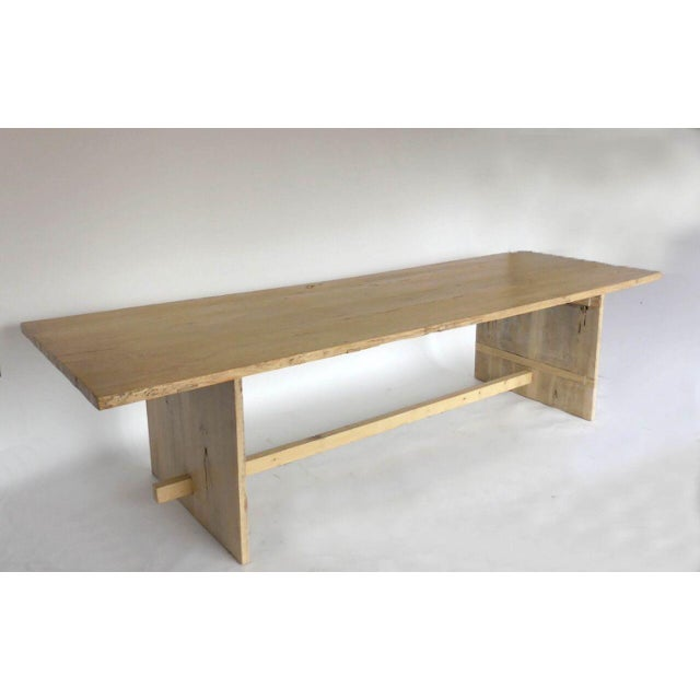 Contemporary Long Elm Dining Table For Sale - Image 3 of 7