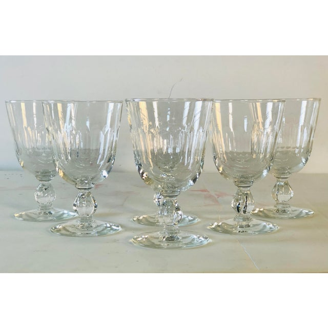 Mid-Century Modern 1950s Mitred Glass Wine Stems, Set of 6 For Sale - Image 3 of 9