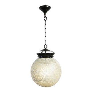 White Mosaic Globe Lantern For Sale