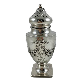 19th C. American Lebkuechar & Co. Sterling Silver Floral & Bow Sugar Caster For Sale