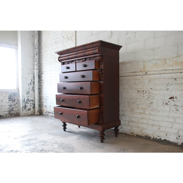 Red Immaculate American Empire Flame Mahogany Highboy Chest of Drawers, Dated 1886 For Sale - Image 8 of 13