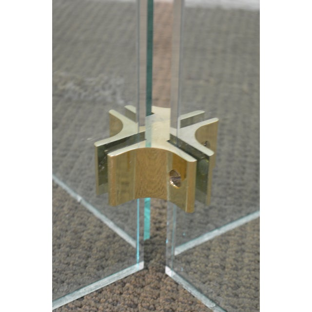 Leon Rosen for Pace Modern Glass Brass Side Table For Sale - Image 10 of 13