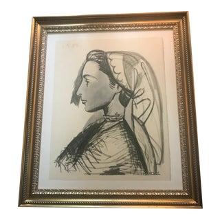 """1955 Vintage """"Portrait De Jacqueline"""" Picasso Lithograph Print"""