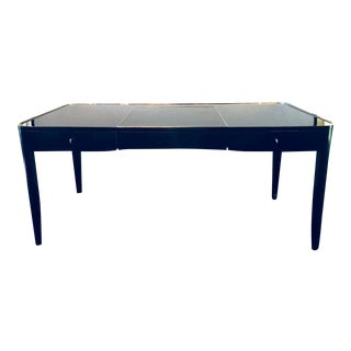 Ralph Lauren Hollywood Regency Style Ebonized & Chrome Mounted Desk / Vanity For Sale