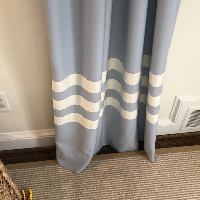 Blue Schumacher Blue With White Trim Curtain Panels - a Pair For Sale - Image 8 of 9