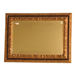 Regency Style Black & Gold Framed Beveled Glass Mirror For Sale
