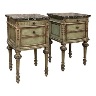 Pair Antique Italian Neoclassical Painted Marble Top Nightstands