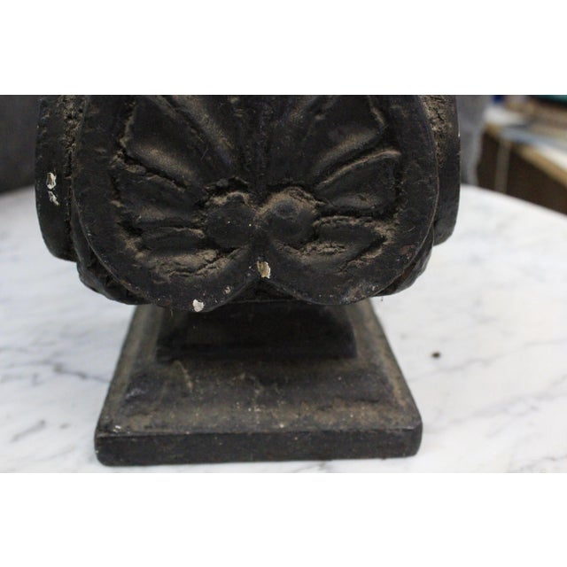 Heavyweight iron finial with spade design for outdoor use.