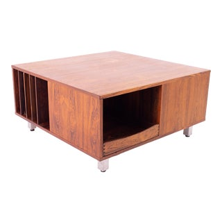 Mid Century Modern Rosewood and Chrome Coffee Table Storage Cabinet For Sale