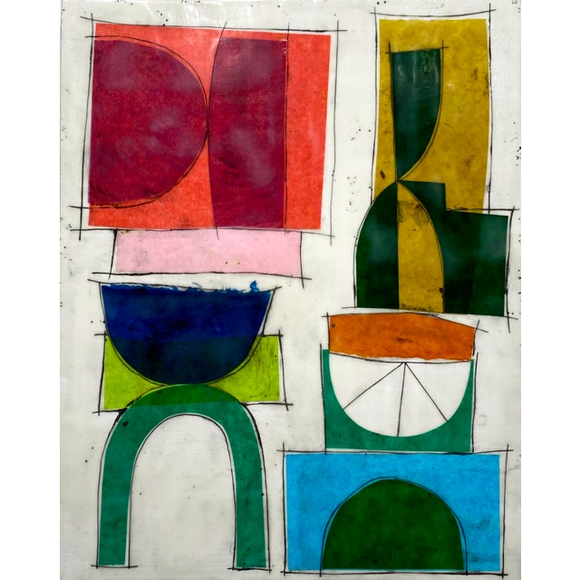 "Wood ""No One Here Is Judging You"" Encaustic Collage Painting by Gina Cochran For Sale - Image 7 of 7"