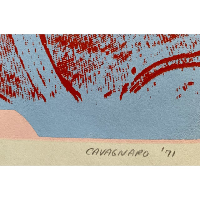 Mid-Century Pink Abstract Serigraph For Sale - Image 4 of 5