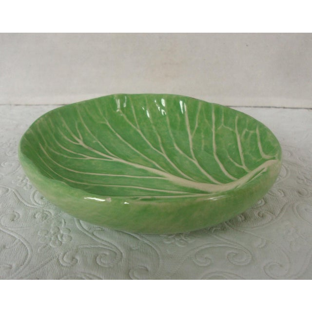 Shabby Chic Dodie Thayer Cabbageware Lettuce Leaf Butter Pat Dish For Sale - Image 3 of 5