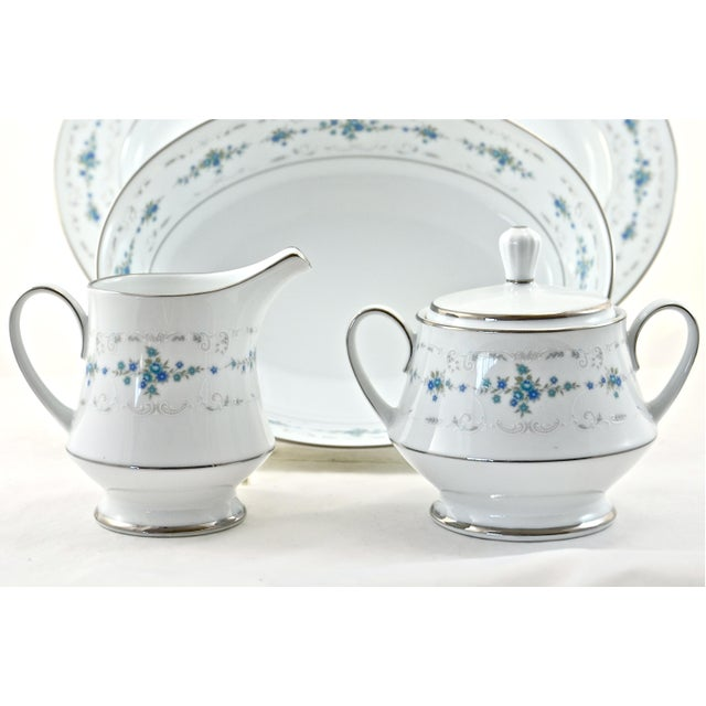 Noritake Silver & Blue Floral Dinner Service- 77 PIeces For Sale - Image 5 of 8