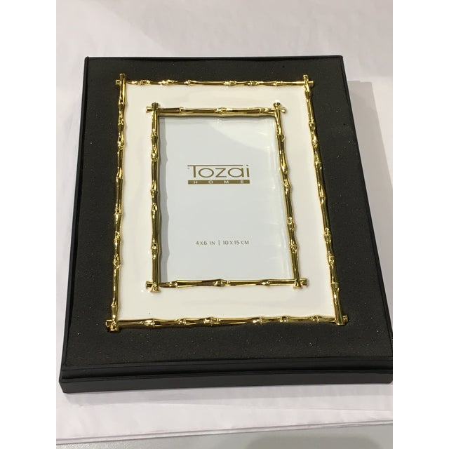 2010s Tozai Home Bamboo White Enamel Picture Frame For Sale - Image 5 of 7