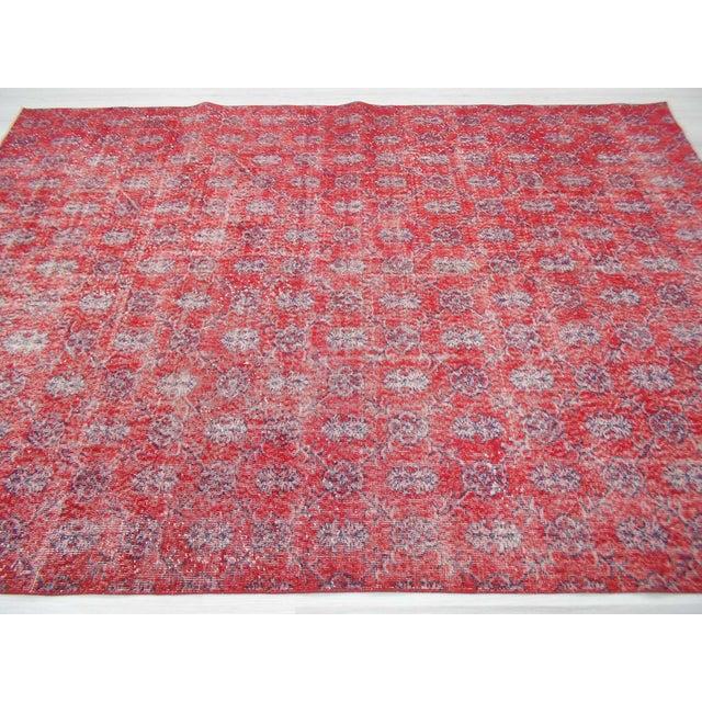 Hand Knotted Vintage Red Floral Designed Turkish Art Deco Rug - Image 4 of 6