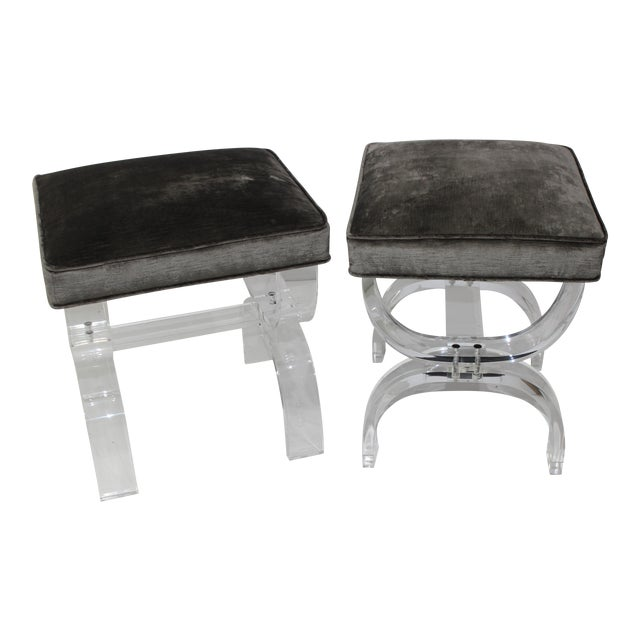 Hollis Jones Style Benches Lucite and Crushed Velvet 1970s - a Pair For Sale