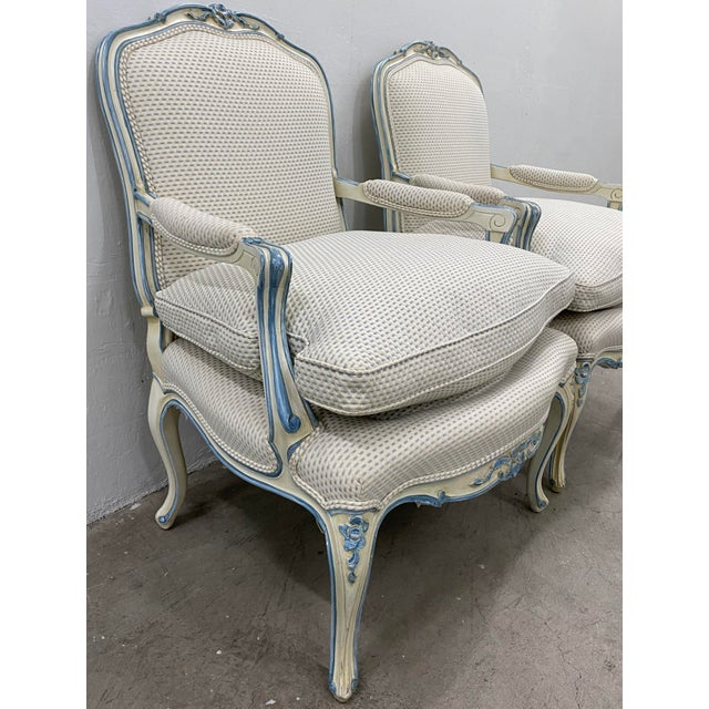 1940s Pair of French Style Carved & Upholstered Arm Chairs C.1940s For Sale - Image 5 of 10