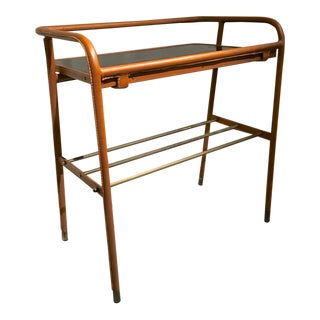 Jacques Adnet Brown Hand-Stitched Leather Side Table For Sale