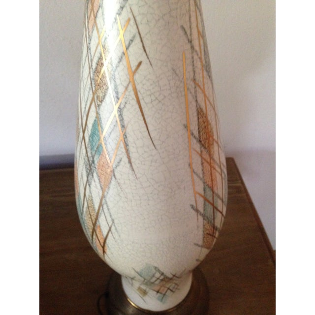 1950s Tall Diamond-Patterned Ceramic Table Lamp - Image 5 of 6
