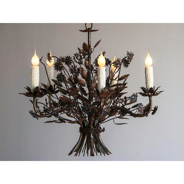 Vintage Steel Floral Bouquet Chandelier, Five Lights, France c.1940. The complete whimsey of this fixture actually has its...