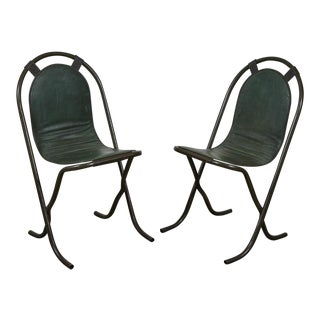 1940s English Metal Arch Back Chairs - a Pair For Sale