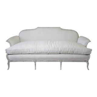 20th Century Italian Neoclassical Sofa Upholstered in Belgian Linen