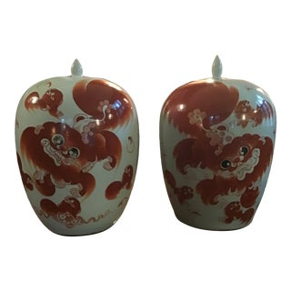 Vintage Chinese Orange Foo Dog Ginger Jars - a Pair For Sale